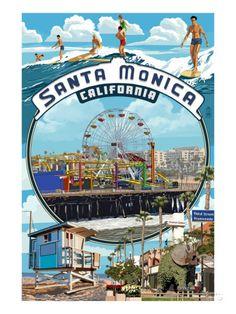 オールポスターズの ランターン・プレス「Santa Monica, California - Montage Scenes」ポスター