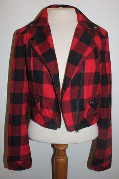 Forever 21 Blazer M Red Black Lumberjack Plaid Cropped Moto Jacket #Forever21 #BasicJacket