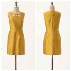 """Price ⬇️ Maeve Chardonnay Sheen Cutout Dress Great condition! Tiny mark shown in last pic. 50% silk and 50% wool. Length is 33"""". SK062816050 Anthropologie Dresses"""