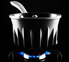 Flare Pots & Pans A British rocket scientist designed this collection of fast-looking & ultra-efficient cookware. Like jet-engine turbines, the Flare Line pots & pans have integrated fins that waste less heat & time, accelerating cooking times by up to 44%.   $85 - $150