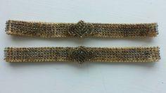 2 Antique Vintage Beaded Garters -Smoky Glass Microbeads~Trefoil Design