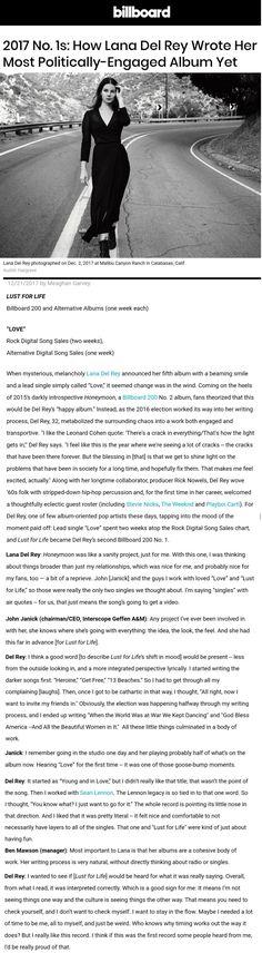 Dec 21, 2017: Lana Del Rey in Billboard Magazine #LDR #quotes