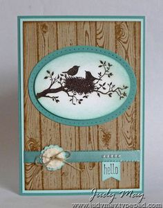 Stampin' Up! World of Dreams, Hardwood background. Shading around the oval edge created such a prett glow around the birds.