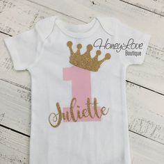 Personalized NAME - number 1 one tiara princess crown gold glitter shirt bodysuit, First Birthday, Cake Smash baby girl infant toddler party outfit by HoneyLoveBoutique on Etsy First Birthday Outfit Girl, 1st Birthday Shirts, Baby First Birthday, Princess Birthday, First Birthday Parties, Girl Birthday, First Birthdays, Cake Birthday, Birthday Crowns