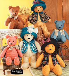 Teddy Bears Sewing Pattern - Stuffed Bear Clothes #teddy, #teddies, #bears, #toys, #pinsland, https://apps.facebook.com/yangutu
