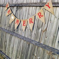 BE MERRY Christmas Burlap Banner Bunting Garland Decoration - We Do Custom Banners