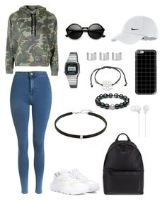 """Polyvore Style"" by jesy-smith on Polyvore featuring mode, Topshop, NIKE, Ted Baker, Casio, Maison Margiela, Casetify et Sony"