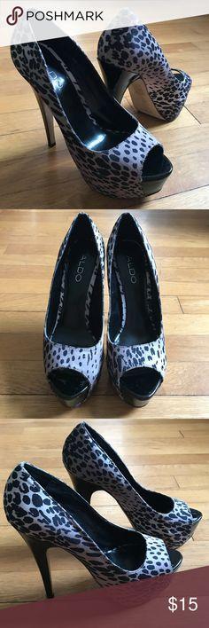Aldo satin cheetah print peep toe stilettos