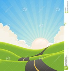 Illustration of a cartoon long road snaking inside green hills in spring or summer landscape. Description from dreamstime.com. I searched for this on bing.com/images