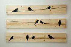 Idée décoration Salle de bain Tendance Image Description Décoration murale en bois Birds on a Wire 3 pces par HomeFrosting