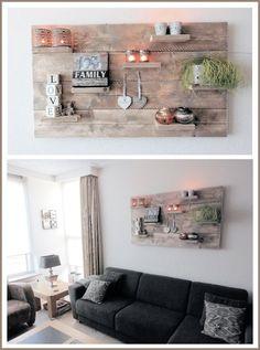 Wanddecoratiebord van oud steigerhout afmeting L100xH60cm (voorraad)