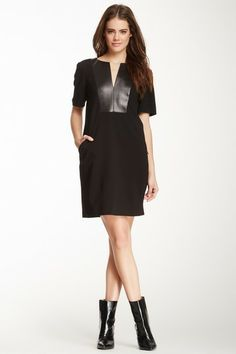 Italian Ponte Split Neck Dress by tibi on @HauteLook ; like the flat boots with dress; dress is great/classic