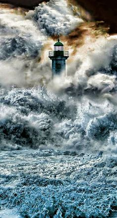 The Bell Rock Lighthouse, off the coast of Angus, Scotland, is the world's oldest surviving sea-washed lighthouse. This picture is the BOMB! Bell Rock Lighthouse, Lighthouse Storm, Lighthouse Pictures, Lighthouse Art, Lighthouse Lighting, Stormy Sea, Beacon Of Light, Am Meer, Jolie Photo
