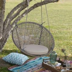 Island Bay Saria Resin Wicker Single Swing Chair with Seat Pad ...