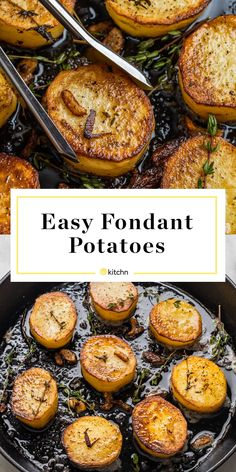 Fondant Potatoes Are The Fanciest Way To Prepare Potatoes - - An easy, impressive recipe for restaurant-quality fondant potatoes made with just five staple ingredients. Potato Dishes, Potato Recipes, Veggie Dishes, Veggie Food, Vegetable Recipes, Cooking Time, Cooking Recipes, Cooking Ideas, Fondant Potatoes