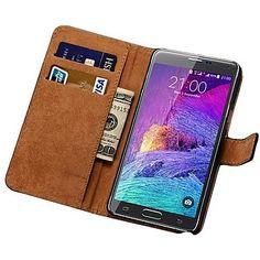 EUR € 11.50 - äkta läder plånbok väska till Samsung Galaxy Note 4 n9100, Gratis frakt för alla Gadgets!