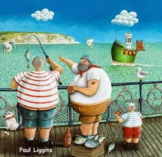 Like Father Like Son by Paul Liggins at Artisan Gallery Fork Art, Folk, Naive Art, Drawing Skills, Illustrations And Posters, Limited Edition Prints, Beautiful Artwork, Lovers Art, Boho Decor