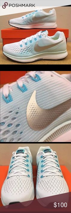 Pegasus 34 Women Running Shoe Silver and Aqua Brand new in box!!! Many sizes available. Super comfortable and great for running! Nike Shoes Athletic Shoes
