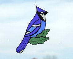 Stained Glass Blue Jay Suncatcher via Etsy