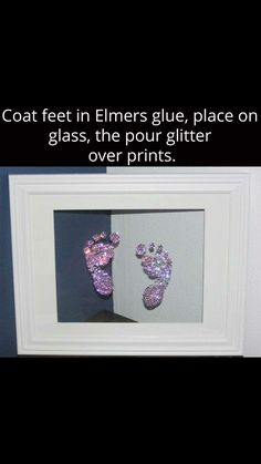 Framedcool craft for baby glitter baby footprints Baby Crafts, Crafts For Kids, Baby Handprint Crafts, Newborn Crafts, Baby Footprint Crafts, Infant Crafts, Kids Diy, Diy Bebe, Future Mom