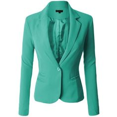 LE3NO Womens Classic Fitted Boyfriend Blazer Jacket ❤ liked on Polyvore featuring outerwear, jackets, blazers, boyfriend jacket, 1 button blazer, single button blazer, boyfriend blazer and short-sleeve blazers