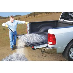 Quickly and easily unload up to 2000 lbs. of cargo from your pickup truck. Simply spread the heavy duty dragsheet across your truck bed and load. Lower the tailgate and turn the crank on the cargo unloader to quickly clear your truck bed. Rat Rod Trucks, Truck Mods, Cool Trucks, Chevy Trucks, Pickup Trucks, Pickup Camper, Jeep Pickup, Diesel Trucks, Lifted Trucks