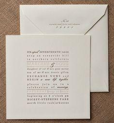 Un clásico, la invitacion cuadrada impresa en bloque en letterpress