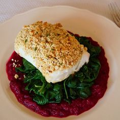 Whole30 Cashew-Crusted Cod with Beets and Spinach