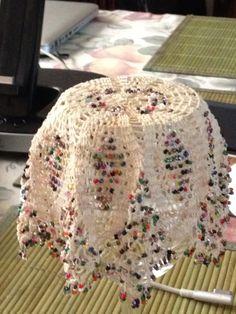 Beaded jug cover Crochet Cup Cozy, Crochet Bowl, Bead Crochet, Crochet Doilies, Crochet Table Topper, Crochet Kitchen, Crochet Ideas, Mug Rugs, Tricot