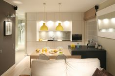 """Na Polanie"" Apartment Small Apartment Furniture, Apartment Ideas, Tiny Studio Apartments, Tiny Living, Living Room Kitchen, Home Kitchens, New Homes, House, Home Decor"