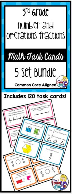 These 5 sets of task cards have ALL of the 3rd grade Common Core Math Standards for Number and Operations - Fractions! A great time saving, effective tool that your kids will love! (TpT Resource)