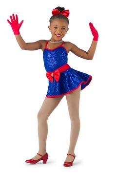 Royal sequin silky stretch over royal spandex leotard with adjustable straps. Attached red sash and peplum. Separate white glitter tulle over white tricot tutu. Binding and bow trim. Baby Ballerina, Dance Recital, Tiny Dancer, White Glitter, Dance Costumes, Costume Design, Cartoon Characters, Leotards, Headpiece
