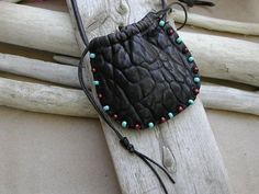 Native American Leather Pouches   Native American Leather Pouch Hand Beaded Bag For Crystals Stones And ...