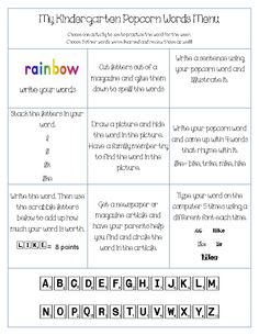 Spelling words menu for younger grades. Fun activities!