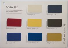 "Show Biz. ""Intense colours with depth"". Colours Include: 6 - Champagne, 16 - Paynes Grey, 22 - Jacksons Yellow, 23 - Old Gold, 28 - Bella's Beauty, 42 - Blue Velvet, 44 - Green Shade Blue, 47 - Bobbys Brown."
