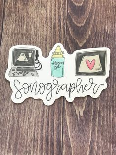 These cute little stickers measure approximately 4 inches high. Cardiac Sonography, Ultrasound Sonography, Sonographer Gifts, Radiology Student, Ultrasound Technician, Student Midwife, Nursing Students, Nursing Schools, Career Help