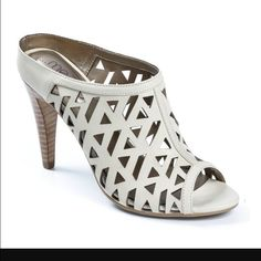 New Me Too Opal White Slip On Heels Size 8