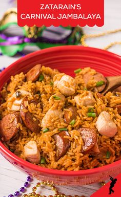 Carnival Jambalaya is the perfect quick and tasty party recipe. Start with Zatarain's Jambalaya Mix and add in cubed chicken breasts, green onions and sausage of your choice. For larger crowds, just double the mix. Creole Recipes, Cajun Recipes, Seafood Recipes, Mexican Food Recipes, Beef Recipes, Soup Recipes, Chicken Recipes, Healthy Recipes, Healthy Chicken