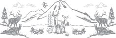 Glass etching stencil of Mountain Scene with Deer and Elk. In category: North American Mammals, Trees, Western