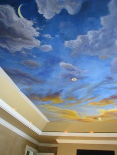 view of bedroom ceiling mural before molding was added. The murals was first painted on canvas the applied to the ceiling like wallpaper. see more at lorrainecahill.com