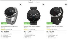 Flipkart Offer | Moto 360 Smartwatches - EXTRA Rs.5,000 OFF  Rs 12,999 now