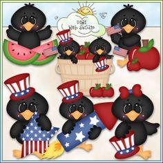 Patriotic Crows 1 - Exclusive Kristi W. Designs Clip Art : Digi Web Studio, Clip Art, Printable Crafts & Digital Scrapbooking!