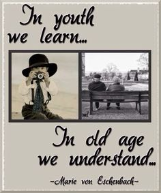 "Youth vs. Old Age quote ""In youth we learn..In old Age we understand"" - Marie Von Eschenback"