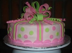 Pink and Green Birthday Cake - Cristen, this is amazing! My daughter would love. Pink and Green Birthday Cake – Cristen, this is amazing! My daughter would love it! Green Birthday Cakes, Adult Birthday Cakes, Birthday Cakes For Women, Fondant Cakes, Cupcake Cakes, Cupcakes, Cake In A Can, Girly Cakes, Green Cake