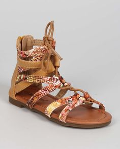 New-Girl-EC07-Snakeskin-Open-Toe-Criss-Cross-Lace-Up-Gladiator-Sandal-Sz-9-4