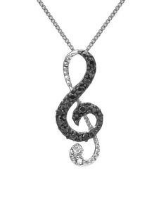 Loving this Black Diamond & Sterling Silver Treble Clef Long Pendant Necklace on #zulily! #zulilyfinds