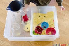 BUTTON EXCAVATING: A simple sensory digging activity for toddlers and preschoolers. A quick and easy indoor activity that's practically no-prep. Also, this set-up with the bins to contain the mess
