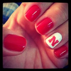 DIY Husker mani....bring on football season!! How random that this just came up on my feed! :) Husker Nation!