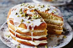 Light on ingredients (but not in its layers of heavenly mascarpone cream), this pistachio and lemon gluten-free cake is absolutely to die for.