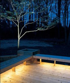 Installing lights under benches bathes your deck in a warm glow.           Rope lights!